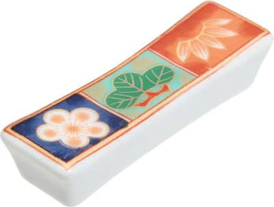 Chopstick Rest, Ceramic with 3 floral patterns on top Chopstick Rest, Ceramic rest, floral pattern chopstick rest, floral pattern, Japanese chopstick rest, ceramic chopstick rest