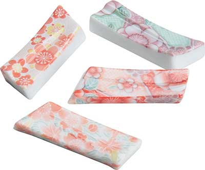 Rectangular Chopstick Rest Assorted Colorful Floral Patterns chopstick rest, long chopstick rest, ceramic chopstick rest, white ceramic chopstick rest, Japanese chopstick rest, floral chopstick rest, chopstick rest Japan