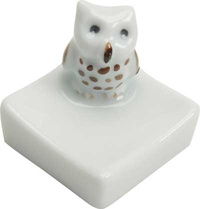 Owl Square Ceramic Chopstick Rest chopstick rest, ceramic chopstick rest, white chopstick rest, owl chopstick rest, square chopstick rest, Japanese chopstick rest, chopstick rest Japan