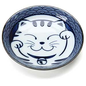 Blue Happy Cat Ceramic Soy Sauce Dish