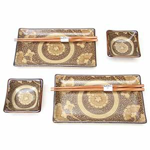 Brown Scroll Floral Japanese Dinnerware Set