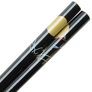 Butterflies and Gold Moon on Black Japanese Style Chopsticks