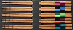 Checkered Colors Bamboo Chopsticks Set