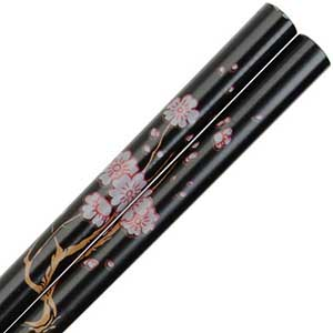 Cherry Blossom Branch on Black Japanese Style Chopsticks