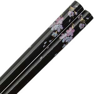 Cherry Blossoms on Black Japanese Style Chopsticks