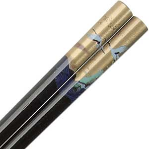 Cranes and Ocean Over Gold on Black Japanese Style Chopsticks