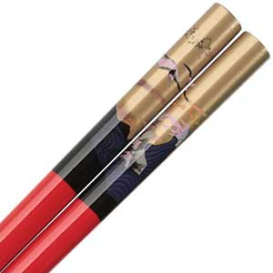 Cranes and Ocean Over Gold on Red Japanese Style Chopsticks