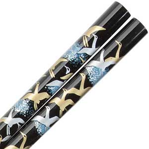 Cranes of Gold and Silver on Black Japanese Style Chopsticks