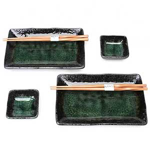 Dark Green Crackled Glaze Japanese Dinnerware Set
