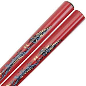 Dragon on Red Japanese Style Chopsticks