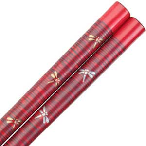 Dragonflies of Gold and Silver on Red Japanese Style Chopsticks