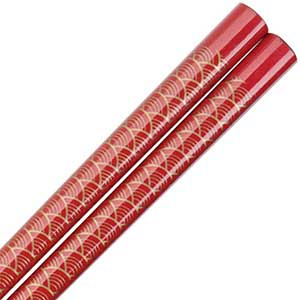 Fan Pattern of Gold on Red Japanese Style Chopsticks