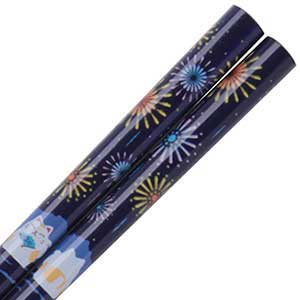 Fireworks Maneki Neko Japanese Chopsticks Blue