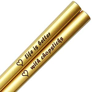 Gold Metallic Personalized Custom Chopsticks