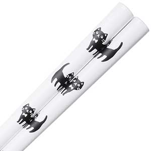 Kitties Japanese Dishwasher Safe Chopsticks White Black