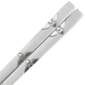 Korean Stainless Steel Chopsticks with Brushed Flowers Design