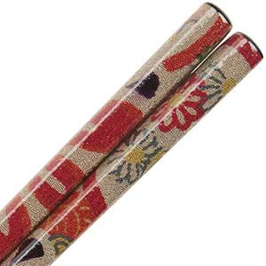 Nishijin Chopsticks Red Floral on Black