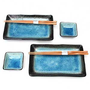 Light Blue Crackled Glaze Japanese Dinnerware Set