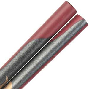 Moon on Gray and Maroon Japanese Style Childrens Chopsticks