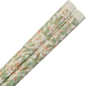 Orchids of Gold on Ivory Colored Japanese Chopsticks