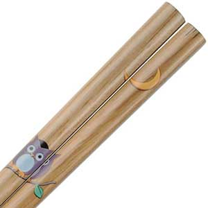 Owl and Moon on Natural Brown Japanese Chopsticks