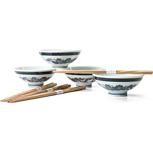 Rice Bowl Set with Chopsticks - Dragon Design
