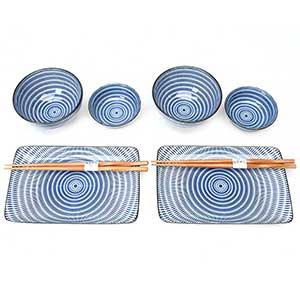 Rings of Blue Japanese Dinnerware Set