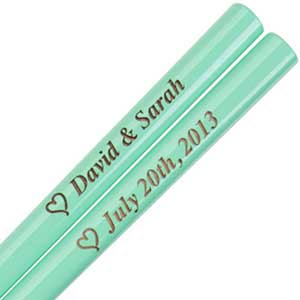 Sea Green Engraved Personalized Chopsticks