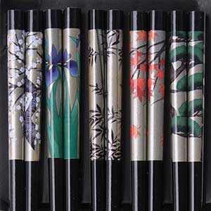 Season Views on Black Japanese Chopsticks Set