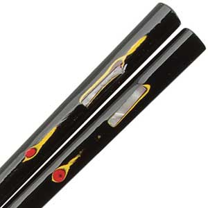 Shell Inlaid Black and Colored Lacquered Japanese Chopsticks