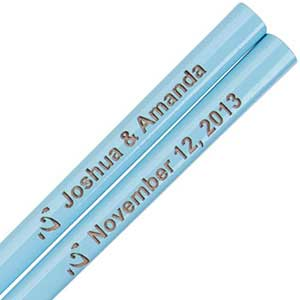 Sky Blue Engraved Personalized Chopsticks