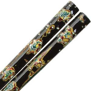 Wakasa Saga Nishiki Black Japanese Chopsticks Wakasa Saga Nishiki, Wakasa Japanese Chopsticks, wakasa chopsticks, japanese chopsticks, carved chopsticks, layered lacquer chopsticks, mother of pearl chopsticks, black chopsticks