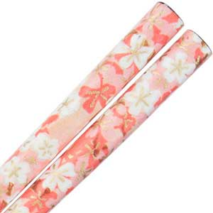 Washi Paper Wrapped Chopsticks Rust with Pink Floral