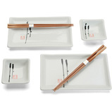 White Hana Two Person Sushi Serving Set