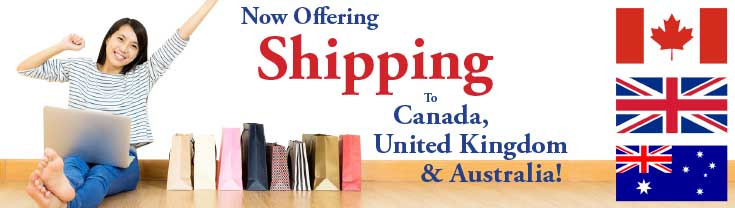 International Shipping to Canada, United Kingdom and Australia