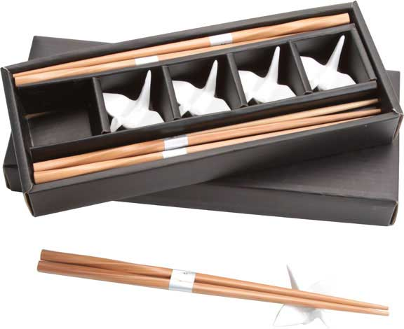 Chopstick and White Crane Rests Set
