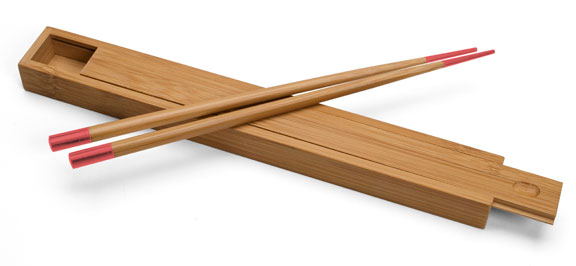Bamboo Lightly Lacquered Box with Red tipped matching Chopsticks