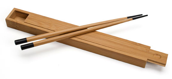 Bamboo Lightly Lacquered Box with Black Tip Matching Chopsticks