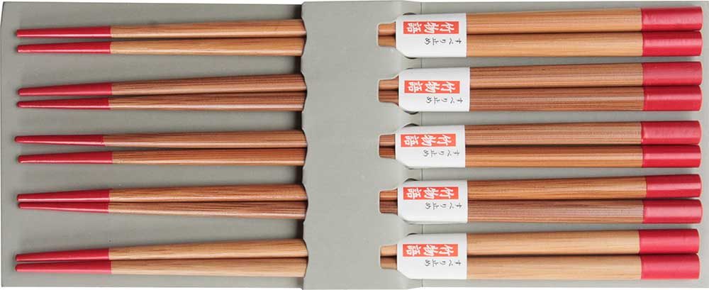 Bamboo Red Chopsticks Set