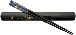Black Chopsticks and Box Set with Blue Maple Leaves