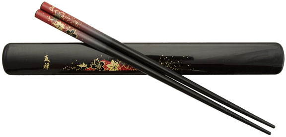 Black Chopsticks and Box Set with Red Maple Leaves