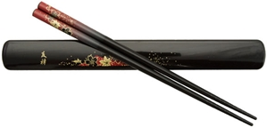 Black Chopsticks and Box Set with Red Maple Leaves Black Chopsticks & Box Set Red Maple Leaves, chopsticks box set, black chopsticks, Japanese chopsticks, Japanese style chopstick