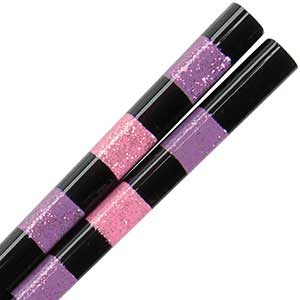 Black Gloss Chopsticks with Pink and Purple Glitter Bands