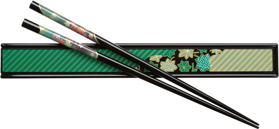 Black Japanese Chopsticks and Box Set with Green Maple Design
