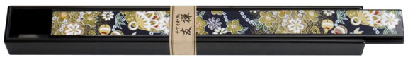 Black Lacquer Chopsticks Boxes With Laminated Origami Paper