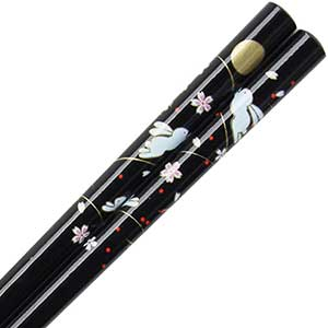 Black Sakura Rabbit Moon Chopsticks