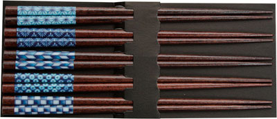 Blue Dark Wood Japanese Chopsticks Set