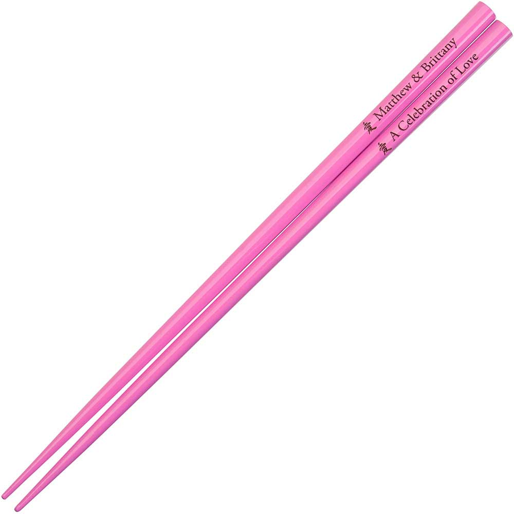 Hot Pink Engraved Personalized Chopsticks