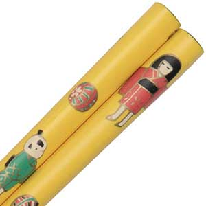 Bright Yellow Childrens Chopstick with a Girl and Panda yellow chopsticks, childrens chopsticks, small chopsticks, panda chopsticks, yellow childrens chopsticks, hair sticks, hairsticks, small chopsticks