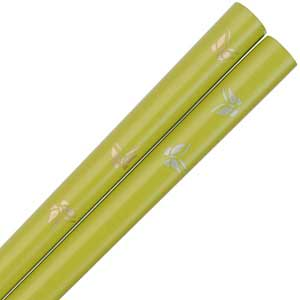 Butterflies of Gold and Silver on Green Japanese Chopsticks butterfly chopsticks, gold and silver chopsticks, green chopsticks, Japanese chopsticks, butterflies chopsticks